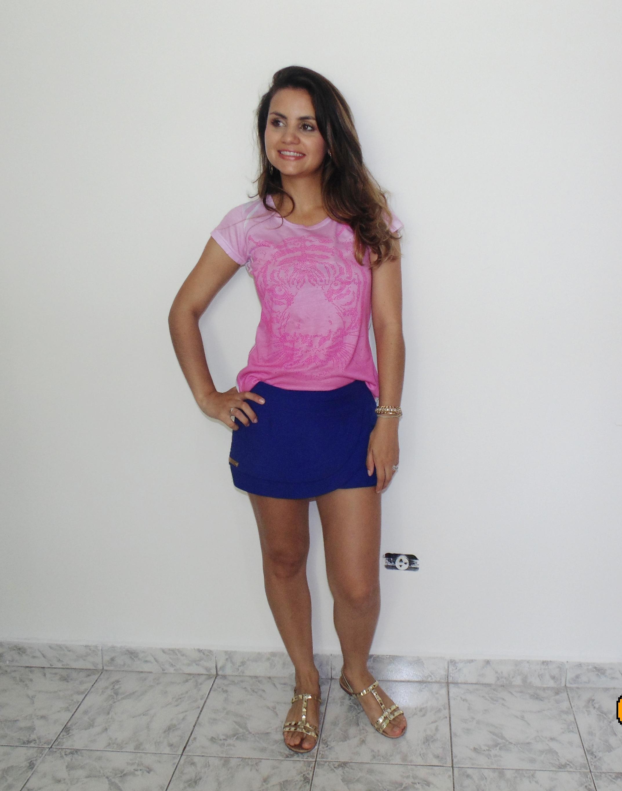 dsc00665 Básico do verão short saia + t- shirt