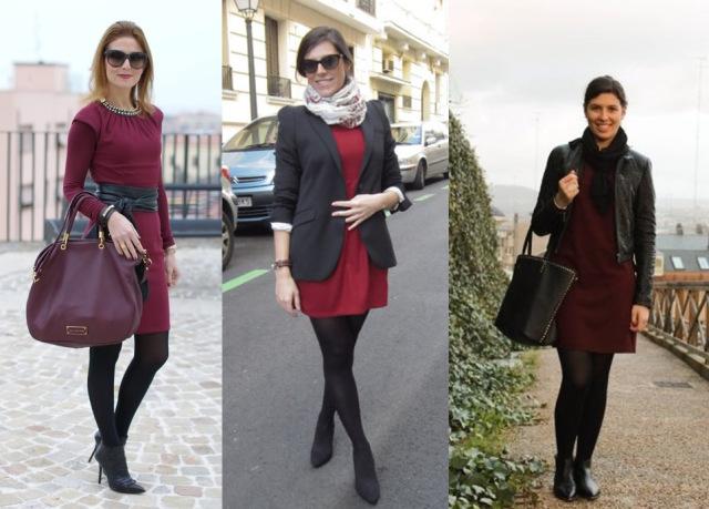 05_lookbook-para-trabalhar_look-de-inverno_vestido-vinho_vestido-burgundy-e-meia-calc3a7a-preta Inspiração looks de Inverno : Vermelho