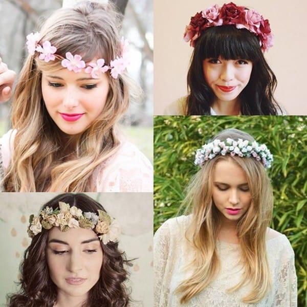 como-usar-tiara-de-flores Cabelos  e Penteados de Verão 2015