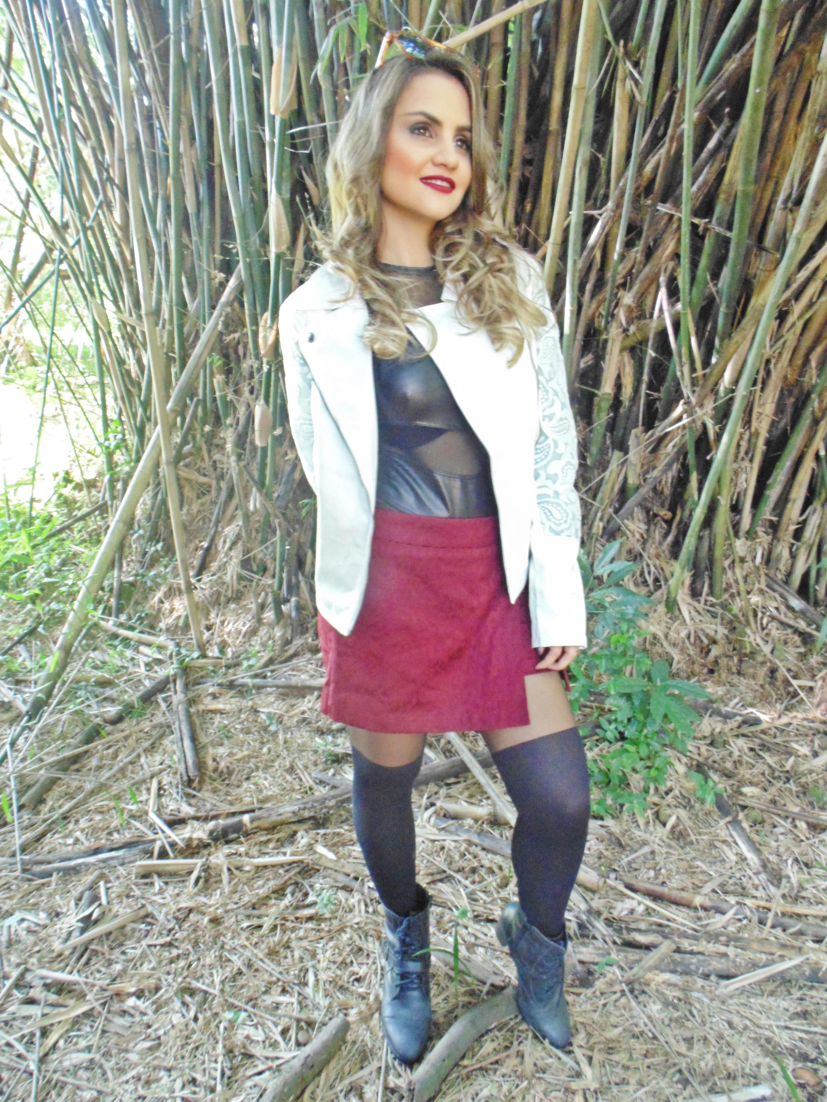 DSC02324 Look da Ka: Jaqueta branca + Short saia Marsala