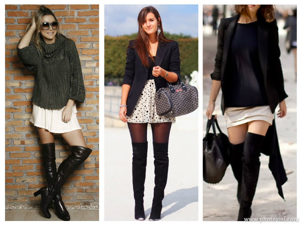 como-usar-botas-over-the-knee-com-saia-dicas-de-moda Moda de rua: Botas Over Knee