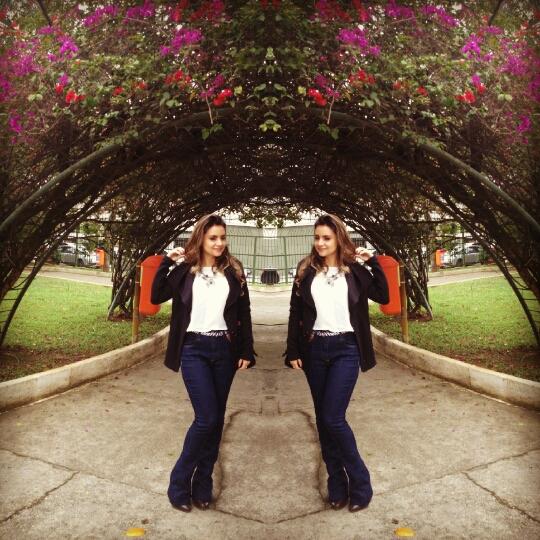 20150913_154912 Look da Ká: Jeans Cintura alta e Flare + Top cropped!