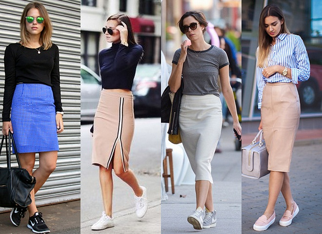 saia-lapis-com-tenis-pencil-skirt-with-sneakers Moda de rua: Looks com Tênis