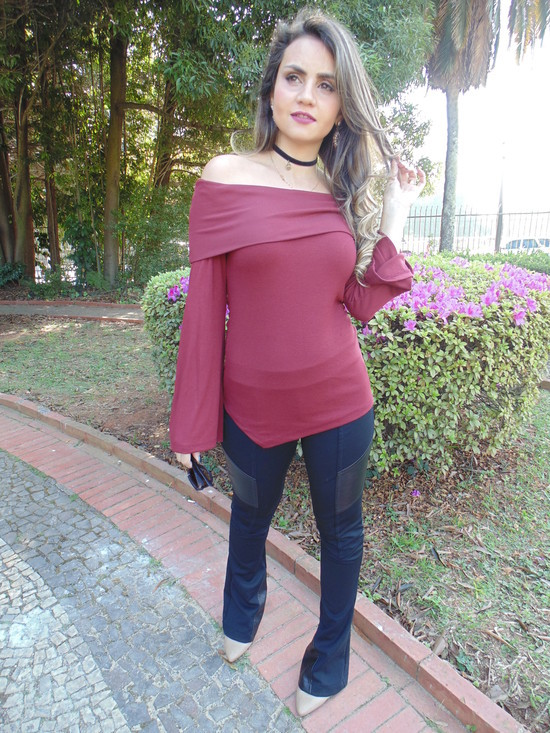 550xN Look da Ka: Flare + Blusa Canelada