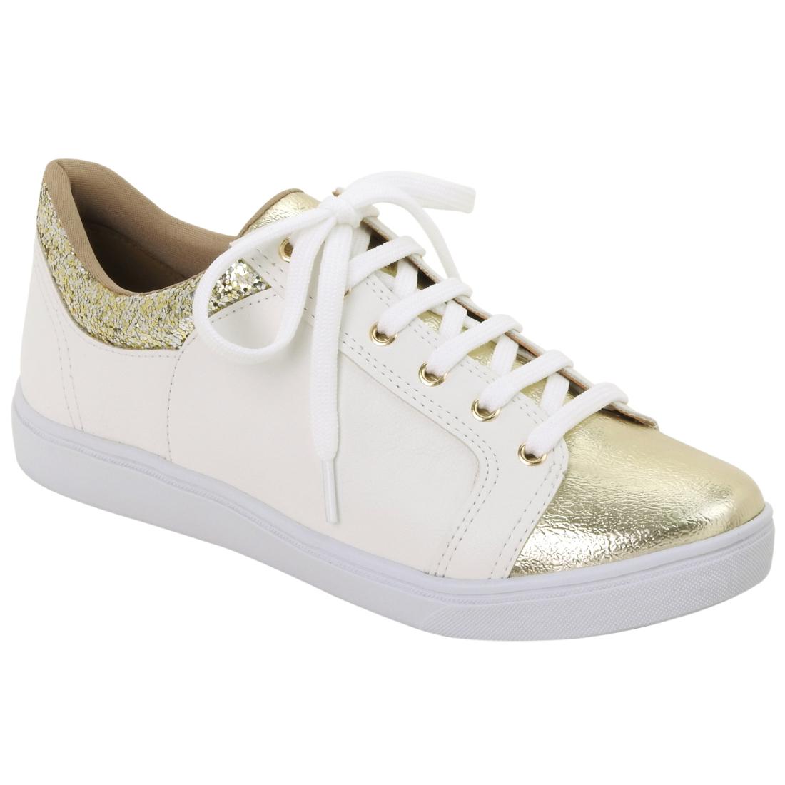 16-12406-DOURADO-BRANCO-MULTI Moda de rua: Tenis e sapatos Metalizados