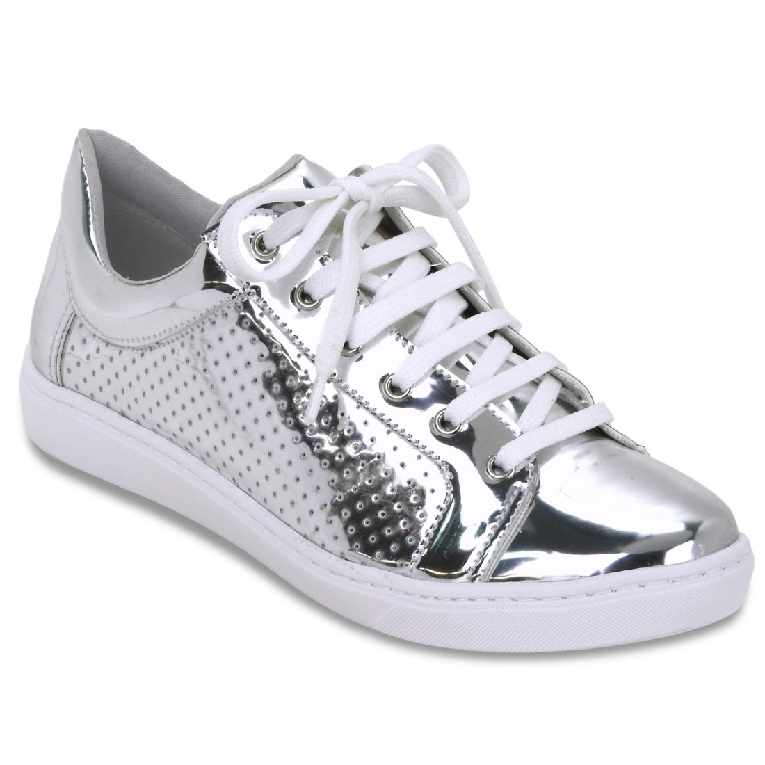 16-12412-PRATA Moda de rua: Tenis e sapatos Metalizados