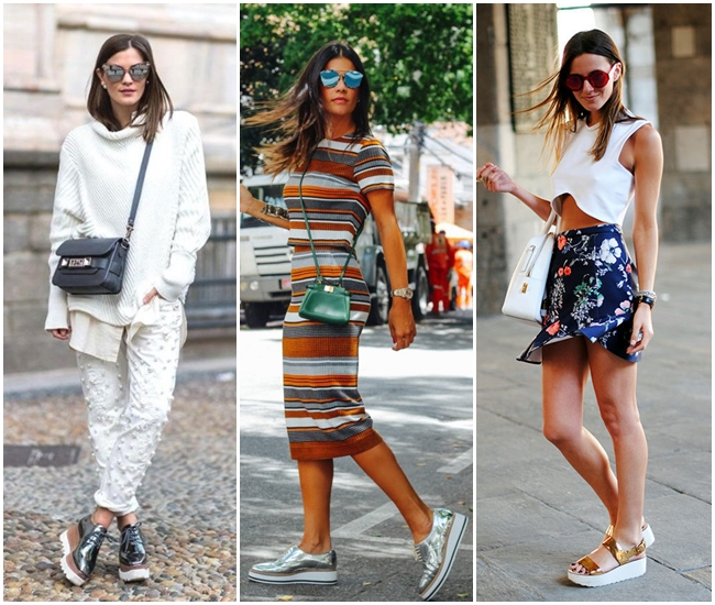 flatforms-creepers-metalizados-alexandra-evangelista Moda de rua: Tenis e sapatos Metalizados