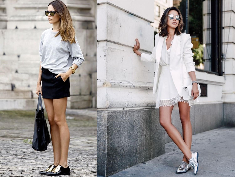 look-sapato-metalizado-com-saia-e-vestido Moda de rua: Tenis e sapatos Metalizados