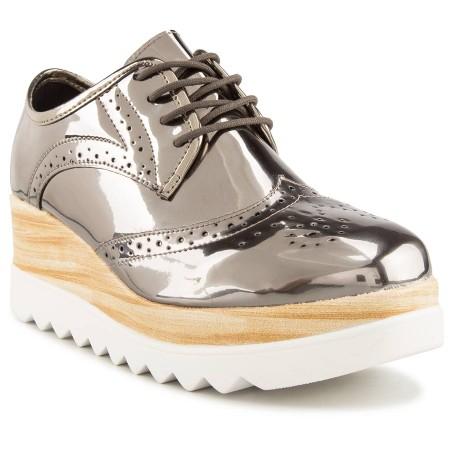 Oxford-Feminino-Moleca-Mix-Flatform-Tratorada-Metal-Glamour-Grafite-1- Moda de rua: Onde encontrar o sapato Oxford forte tendencia de inverno 2017!